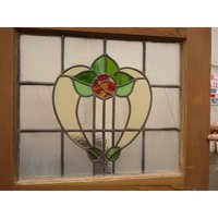 Vintage Handmade 1930's Stained Glass Panel - Soft Tulip