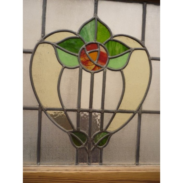 Reclaimed Handmade 1930's Stained Glass Panel - Soft Tulip