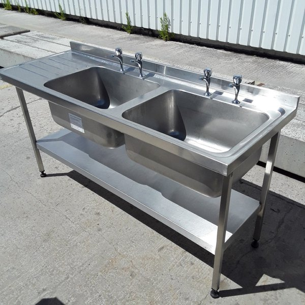 Used Sissons Stainless Steel Double Bowl Sink Shelf (6759)