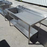 Used Stainless Steel Single Bowl Sink Drainer Shelf (6760)