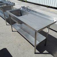 Used Stainless Steel Single Bowl Sink Drainer Shelf (6760)