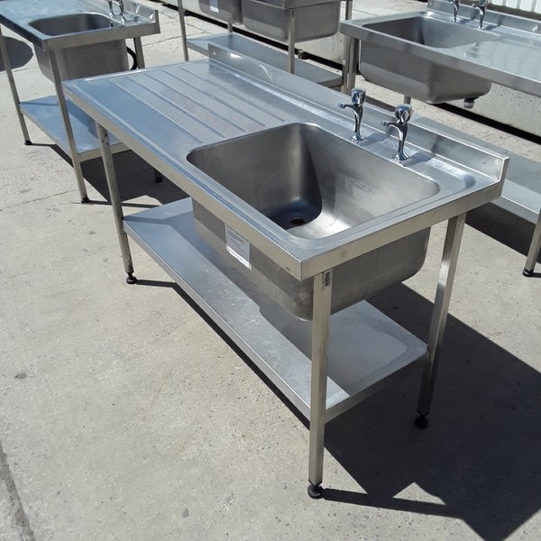 Used Sissons Stainless Steel Single Bowl Sink Drainer Shelf (6762)