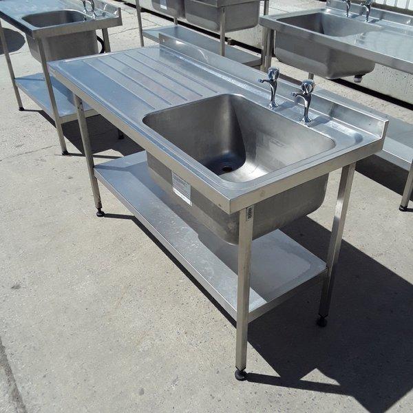 Used Sissons Stainless Steel Single Bowl Sink Drainer Shelf (6762)