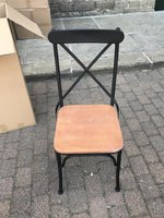350x Black Metal Cross Back Chairs with Beech Coloured Seat. Brand New.