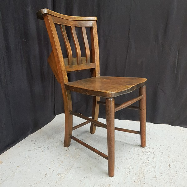 Elm and Beech Slatback 1930's Church Chapel Chairs