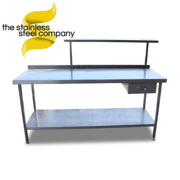 1.9m Stainless Steel Table with Gantry & Drawer (Ref: SS419) - Cheshire