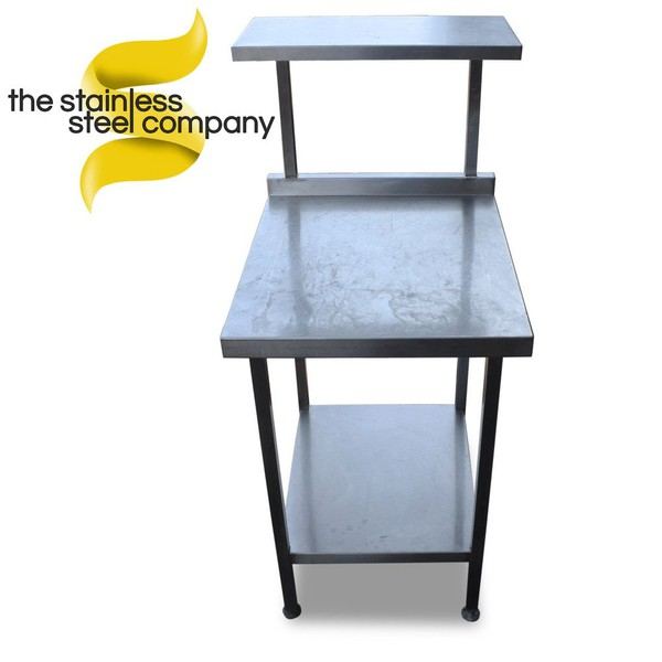 0.6m Stainless Steel Table with Gantry (Ref: SS420)