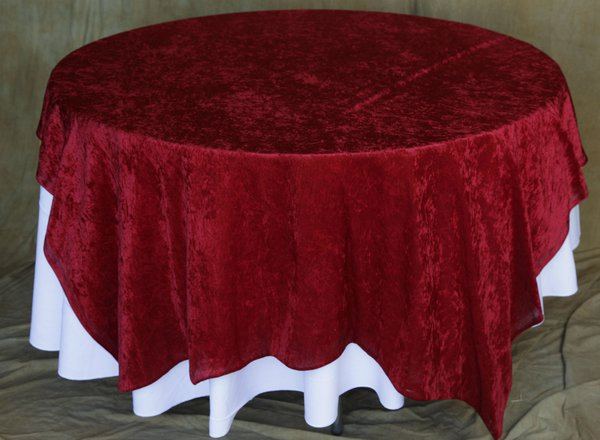 Burgundy crushed Velvet Table Cloth