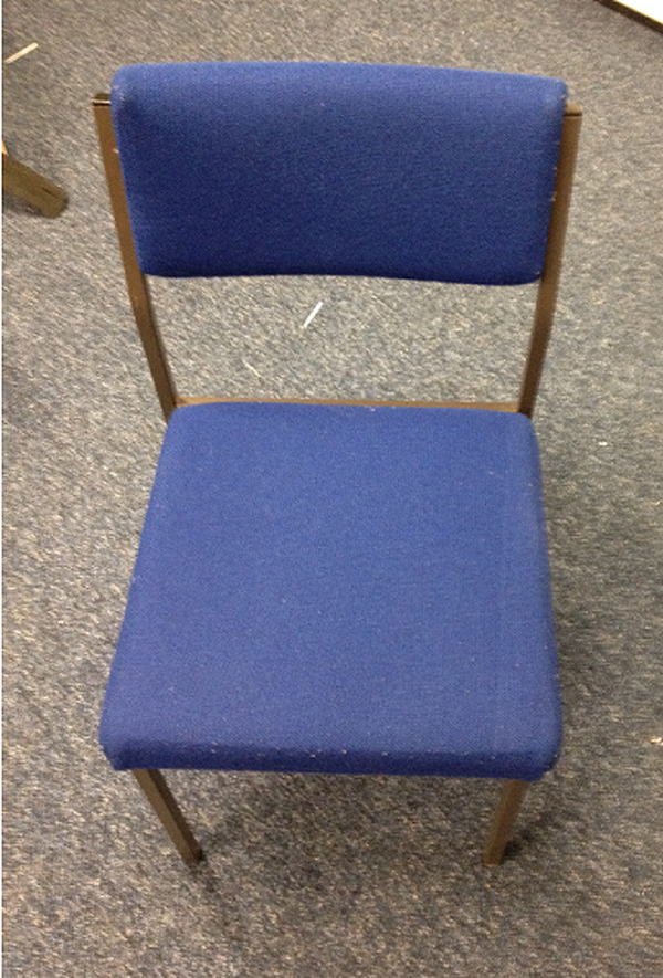 Square backed blue conference chairs
