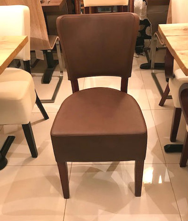 Brown leather dining chairs for sale