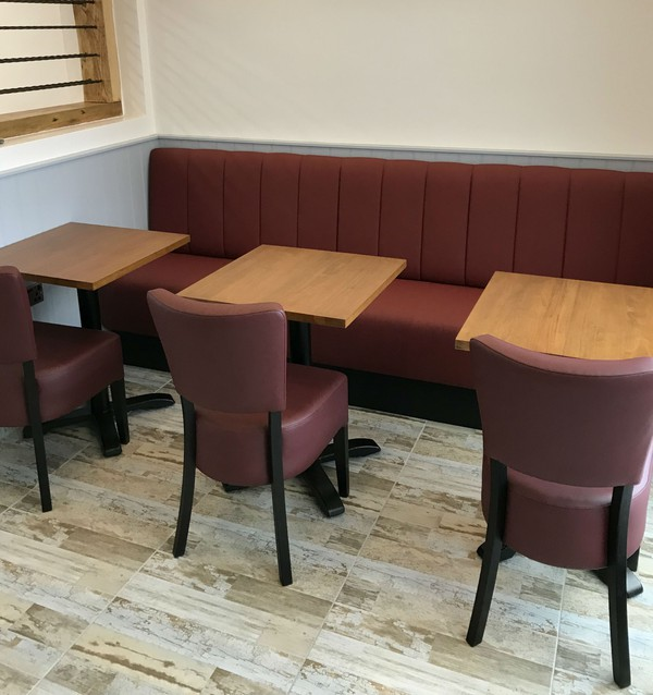 Stylish burgundy restaurant chairs for sale