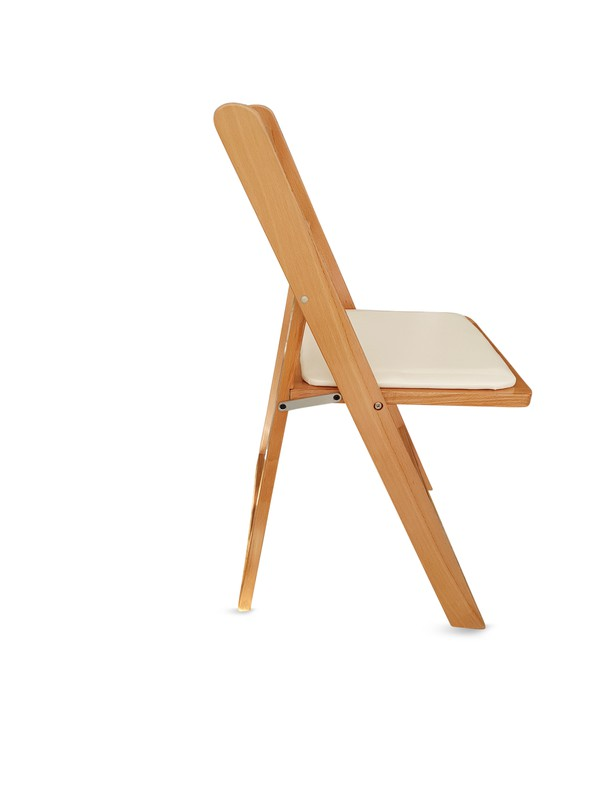 Contract Wooden Folding Chair with Faux Leather Padded Seat
