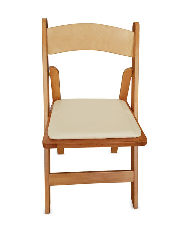 New Wooden Folding Chair with Faux Leather Padded Seat