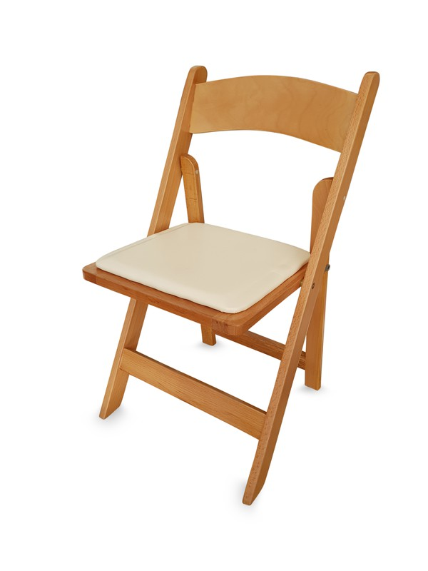 Wooden Folding Chair with Faux Leather Padded Seat
