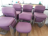 Chrome Frame, Purple Stackable Chairs