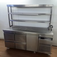 Prep fridge with gantry shelves