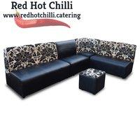 Black Faux Leather & Floral Fabric Seat Set (Ref: RHC3416) - Warrington, Cheshire