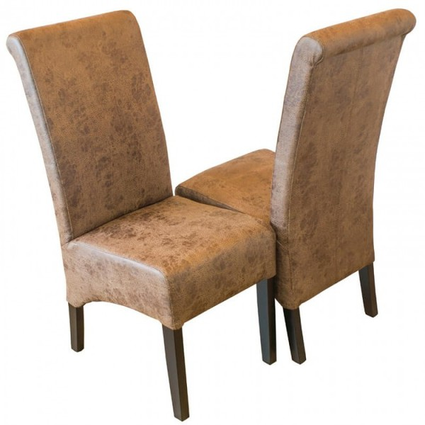 New and Boxed Vintage Faux Leather Scroll Back Restaurant Chairs (Product Code MAY0010)