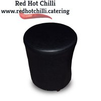 Black Leather Pouffes