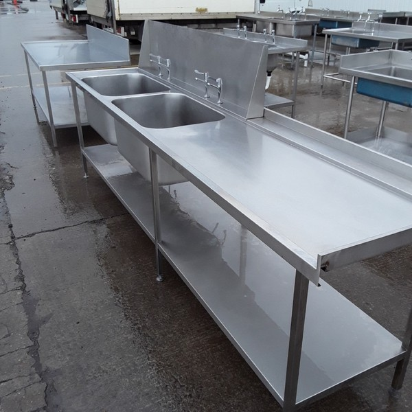 Double sink for sale with splash back