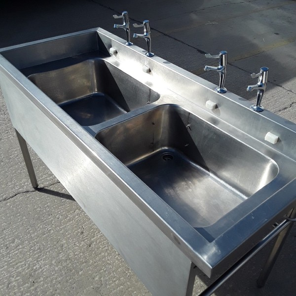 Used Stainless Steel Double Sink (7272)