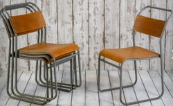 vintage wood and metal chairs