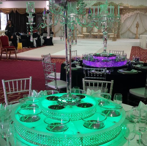 Double Tier Crystal Lazy Susans + Led Lights + Batteries + Bowls (100 units) Metal Kraft