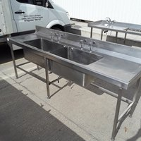 Used Stainless Steel Double Sink (7332)