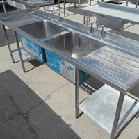 Used Stainless Steel Double Sink (7335)