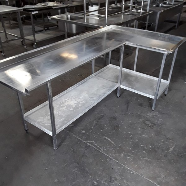 L shaped dishwasher table