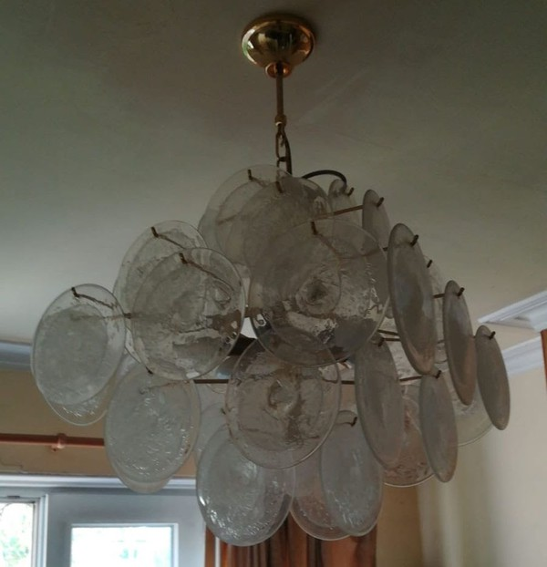 Vintage glass disc chandelier