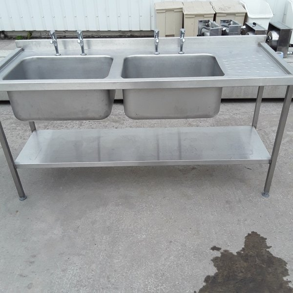 Used Stainless Steel Double Sink (7515)