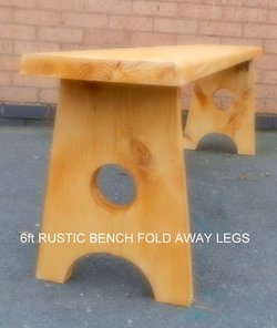 Rustic bench With folding legs