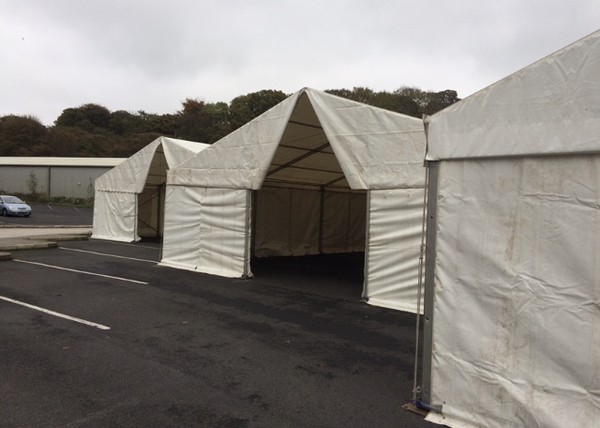 Temporary storage marquees