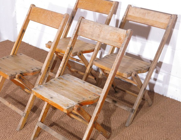 Old wooden vintage folding chairs