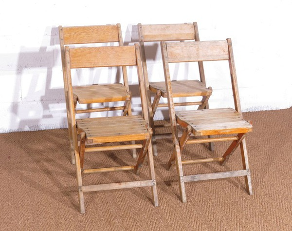 Wooden vintage folding chairs
