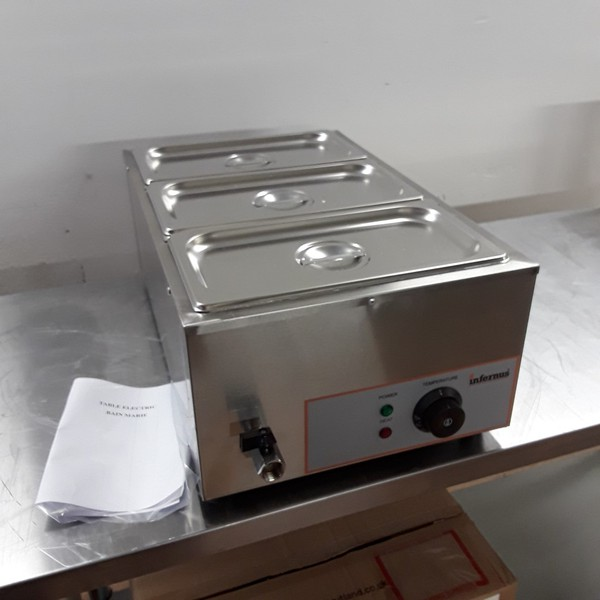 New  BM165 Stainless 3 Pot Wet Bain Marie (7682)