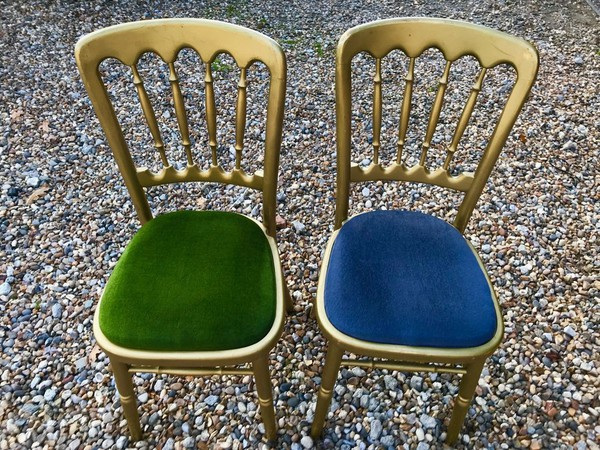 Gilt Banqueting Chairs with Blue Seat Cushions