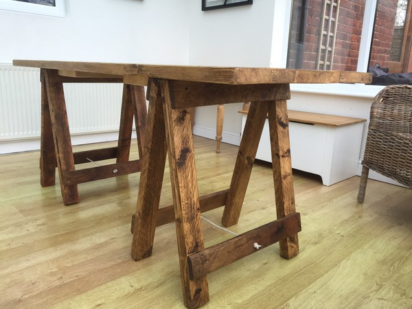 Shabby Chic Rustic Trestle Tables