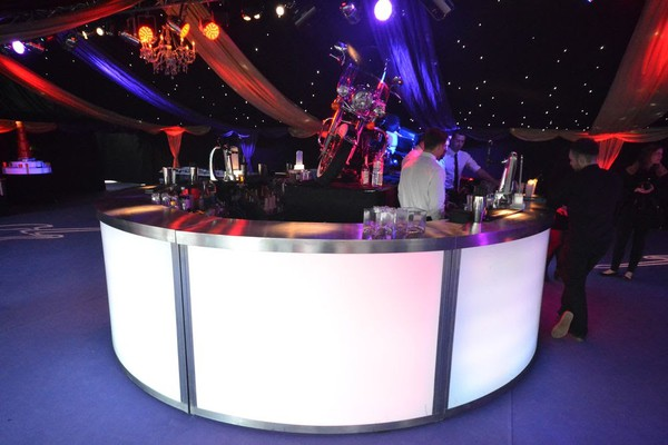 Ex Hire 4m Round LED Illuminated Stainless Steel Mobile Bar