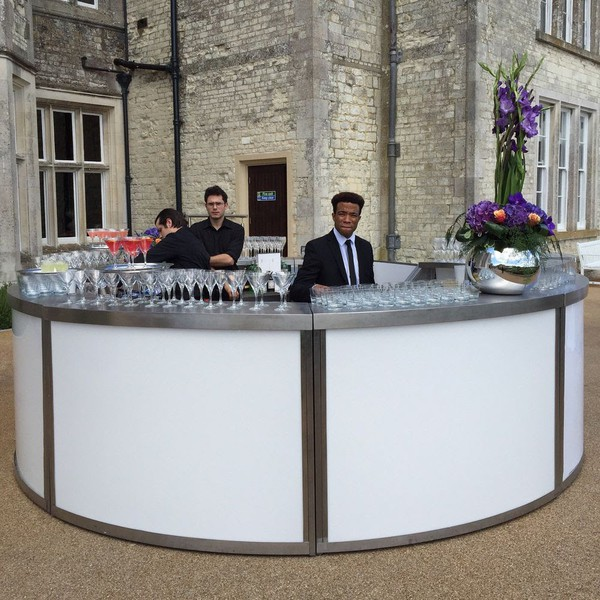 Second Hand 4m Round LED Illuminated Stainless Steel Mobile Bar
