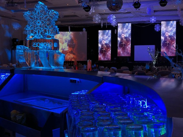 Used 4m Round LED Illuminated Stainless Steel Mobile Bar