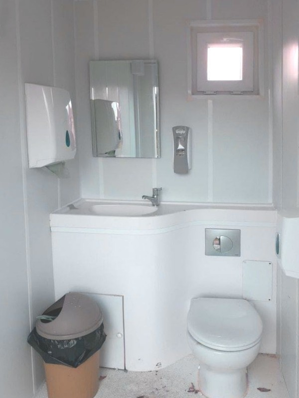 Mains connected single toilet pod