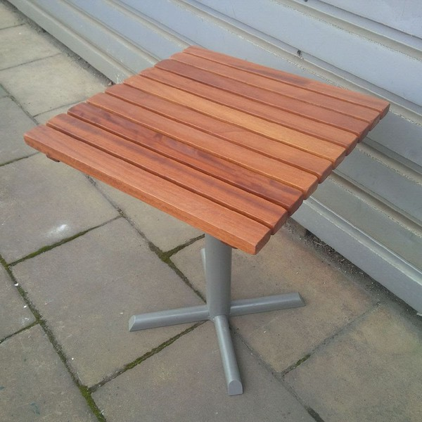 Solid Iroko Slat Square Outdoor Table Top