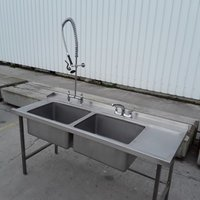 Large commercial double washing up sink