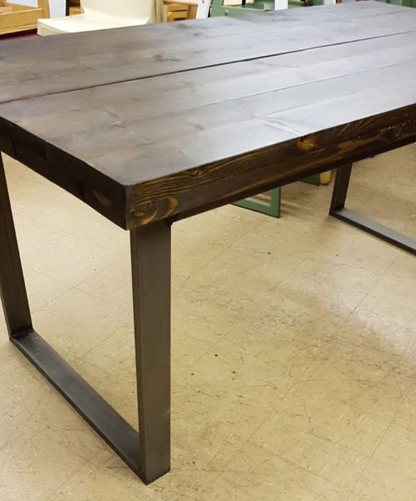 Rustic Industrial Style Dining Table