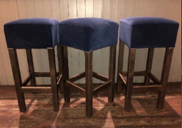 Sapphire Blue Velvet High Bar Stools