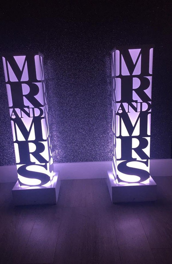 Mr. and Mrs. illuminated letters for hire