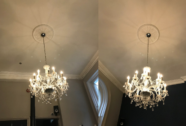 Pair of Large Chrome and Crystal Chandeliers
