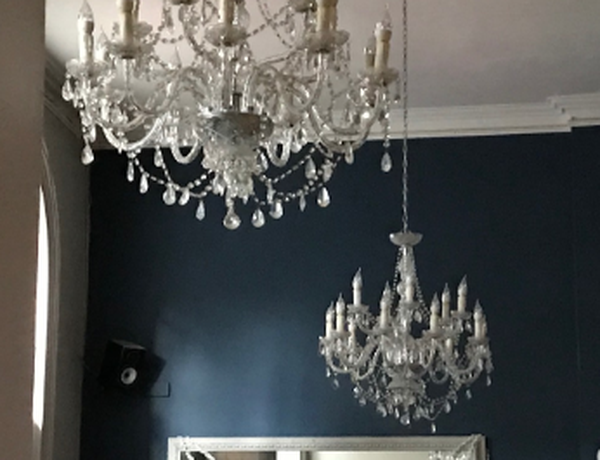 Pair of Large Matching Chrome and Crystal Chandeliers